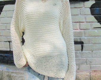 Ivory White Sweater, Cotton Woman Hand Knitted Sweater, Cream Ivory Loose Knit Sweater
