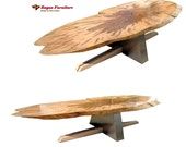 Original coffee table maple slab top steel base quilted maple and inlayed walnut  designed by Garry Zayon mid entury modern