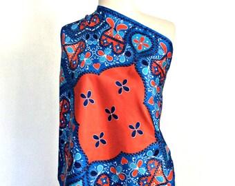 Vintage Vera Scarf - bohemian scarf - silky scarf - head scarf- bandeau - sash - red white blue