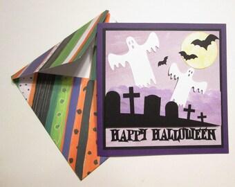 Handmade Halloween card - Happy Halloween Ghostly Graveyard Scene