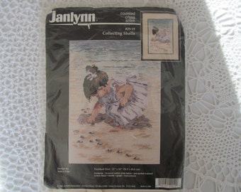 Counted Cross Stitch Kit Janlynn Collecting Shells Picture Little Girl on Beach Never Opened 1996