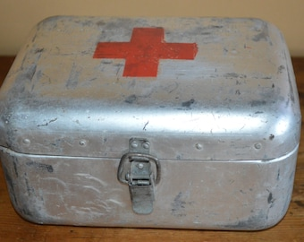 Vintage medical box - red cross aluminum case - metal - medic first aid
