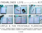 ORGANIZE - The Streamlined Life COMPLETE  KIT - 100+ documents - standard and half size included- Instant Download