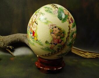 Children Playing/ Hand Painted Ostrich Egg Shell/ Egg Art/ Ostrich Egg Art