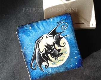 Bat No.1 -  Vintage Style  -  One Handpainted magnet bat, moon,