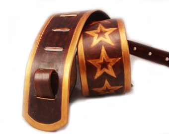 Guitar strap - leather guitar strap - painted guitar strap - custom guitar strap - brown guitar strap - brown leather guitar strap