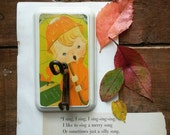 Childs Wall Hook, Hook Made From a Vintage Childrens Book, Nursery Decor, Retro Wall Hanger for Kids