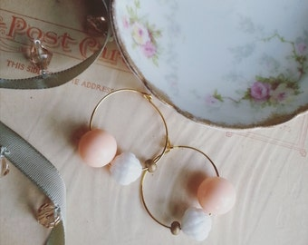 Beaded Hoop Earrings, Eco Friendly Earrings Made From Vintage Pastel Beads, Small Gold Hoops, Boho Chic Jewelry,