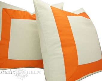 Set of TWO - Orange Ribbon Pillow Covers  - You Choose size between 17 to 26 inches - Ribbon embellishment - euro sham - ready to ship
