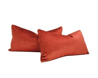 Orange Pillow Cover - Rust Velvet - rust orange - 12 X 22 - Set of TWO - Lumbar - distressed velvet - Designer Pillow Cover - ready to ship