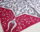 Vintage Faith Austin Handkerchief, 1950s Cotton Hankie - Burgundy and Gray Lyre and Foliage - Proper Lady Designer Accessory
