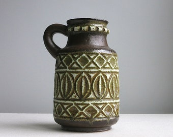 Vintage West German Pottery Vase - Ceramic Jug - Neutral Earth Tone Brown Glaze - Bay Keramik 93 25 1960s