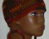 Made to Order Cherry Cola Crochet Beanie Skullcap with Earrings by Razonda Lee Razondalee