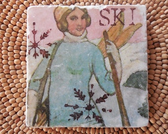"Marble Stone Coaster - Vintage Ski ""Lovely Lady"" - Coaster - Drink Tile - Vintage Ski - Ski Decor - Ski Art"