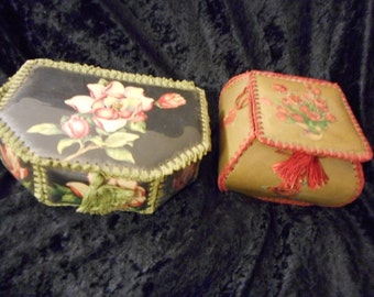 Folk Art Floral Decorative Boxes hand-sewn panels of Vinyl coated Flower Images PAIR  (FFs5067)