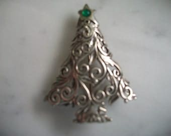 Sterling Silver Christmas Tree Brooch/Pin