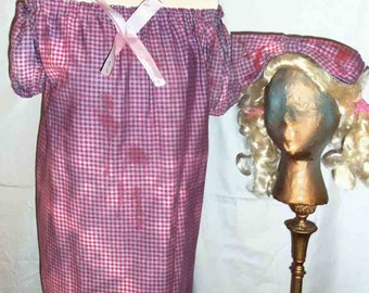 One of a Kind Handmade Upcycled Halloween Baby Doll Zombie Costume and Pig Tail Wig