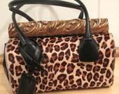 Vintage Leopard Calf Skin Handbag by Marc and Marc by Sharif. F A B U L O U S !  Leopard handbag.  Cheetah Handbag.