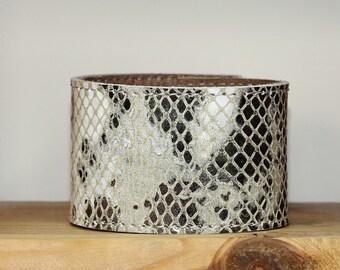 Snakeskin / Python Print Leather  Bracelet / Cream Tan Brown  Leather Cuff Bracelet