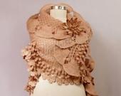 Beige Shawl, Wedding Shrug Bolero, Bridal Shawl Wrap, Flower Shawl, Crochet Shawl, Gold Glitter Wedding Cover Up