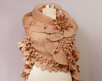 Crochet Shawl, Wedding Shawl, Bridal Shawl, Shawl Scarf, Beige Flower Shawl, Winter Wedding Shrug Bolero, Cape, Cover Up, Crochet Scarf