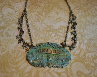 Patinaed Brass Brandy Multi-Strand Necklace with Grape Vines Wine and a Beard