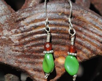Green glass and garnet earrings