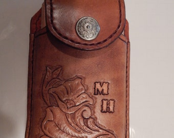iPhone  Case w/ Western Art on Leather Cell Phone Case w/ Initials.