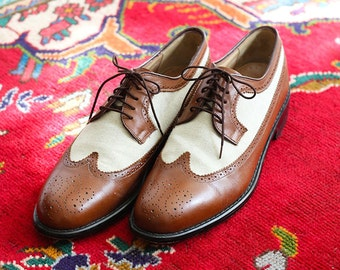 SALE Leather & Linen Vintage Wingtips - Size 11.5