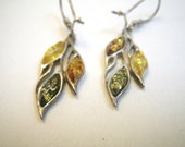 Reserved for EO thru 2/15 Sterling Silver & Amber Earrings - Green Yellow and Dark Honey Leaves