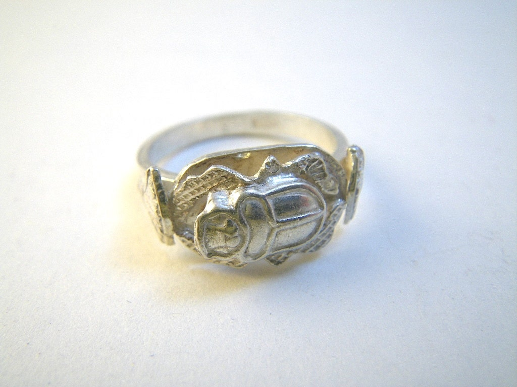silver scarab beetle ring size 9 1 4