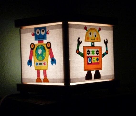 Robot night light decor robots room decoration by babymamma1 for Robot room decor