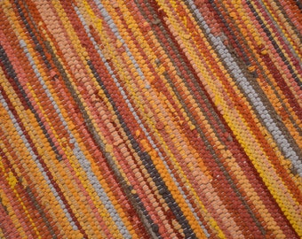 Handwoven Rug-27x58 woven from Recycled T Shirts: Gold, Orange, Taupe.  Washable & Reversible