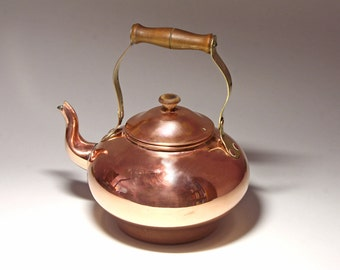 Vintage Copper Tea Kettle, Made in Portugal  - circa 1980's
