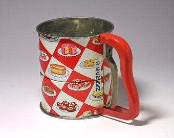 Vintage Androck Flour Sifter, Flour Sifter with Food Images - circa 1940's