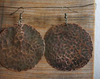 Large Circular Copper Earrings (pair)