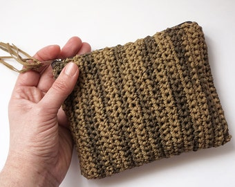 Green and brown medium camouflage pouch, Army crochet clutch