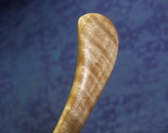 Hand carved hard curly maple hair stick shawl pin