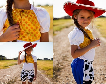 Jessie Cowgirl Inspired Everyday Dress Up PlaySet, Two Piece Crop Top and bloomers...Made to Order, size 6m-6