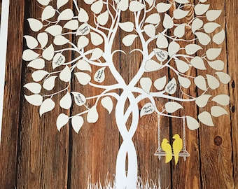 Wedding guest book, guestbook tree, guest book alternative, rustic wedding wood sign, wedding poster, guest book tree, tree with love birds