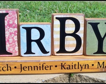 wood block sign alphabet blocks wood block letters wooden blocks name blocks 4 letter family name block set last name sign