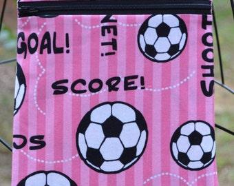 Handmade Soccer Sling Bag, Cross Body Bag, Hipster, Travel Bag in pink