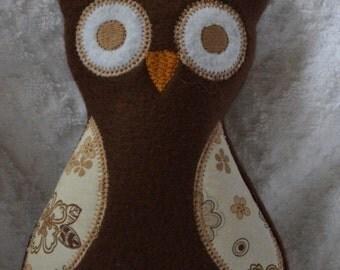 Handmade Stuffed Brown Fleece Owl toy softie