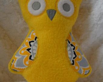 Handmade Stuffed Yellow Fleece Owl toy softie