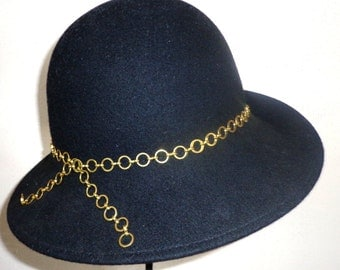 Womans Black Wool Felt Cloche Hat Flapper Style with Gold Chain Adornment