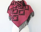 Blanket scarves Aztec wrap Oversized shawl Tribal winter scarf Native shawl Large hippie scarf Pink and black Autumn fall women accessories
