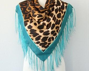 Leopard scarf Tassel shawl Winter scarf New fashion Womens brown teal wrap Animal print head scarf Fringe scarf Square scarf Cheetah Tribal
