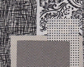 black and white paper scrap pack