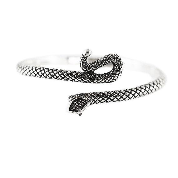 Silver Snake Bracelet Black Uncut Diamond Eyes Sterling Bangle Womens Jewellery