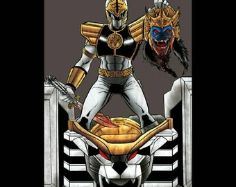 Mighty Morphine Power Rangers - White Ranger - death to goldar - Print - Signed by the Artist - Jason Flowers